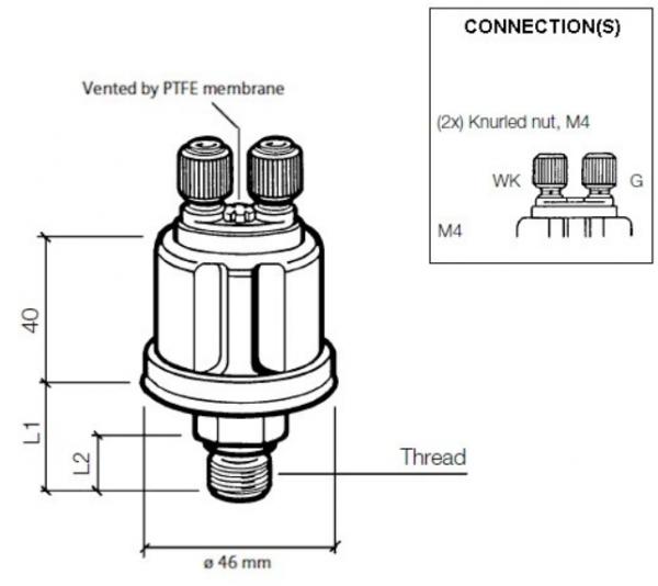 VDO Druckgeber Motoröl 5 bar, M10x1 kegelig kurz, mit Warnkontakt 0,25