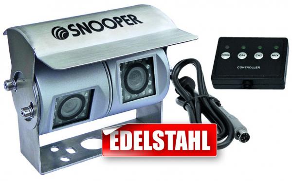 Rückfahrkamera mit zwei getrennten Kameramodulen für mobile Navigationssysteme mit Umschaltbox für 1