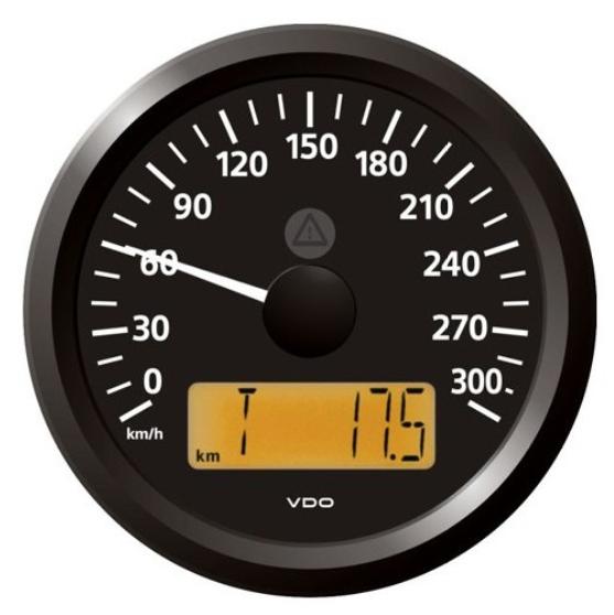 Geschwindigkeitsanzeige 0–300 km/h schwarz