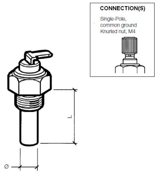 40 – 120 °C / 105 – 250 °F (M16 x 1,5) Einpolig, gemeinsame Masse