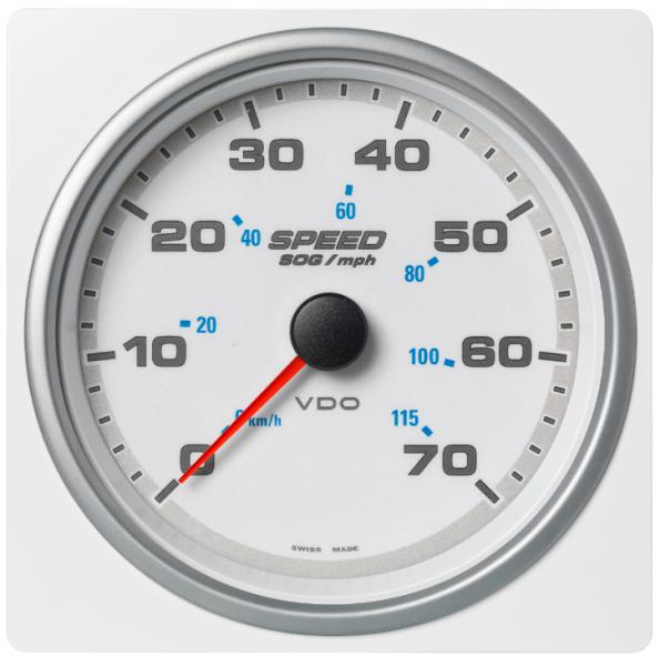Geschwindigkeit über Grund (SOG) 70 mph / 55km/h weiß