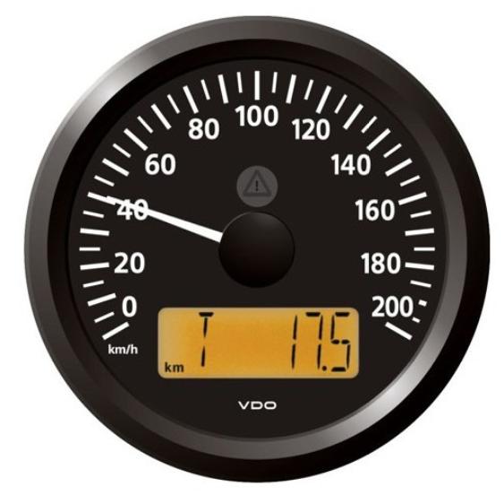 Geschwindigkeitsanzeige 0–200 km/h schwarz