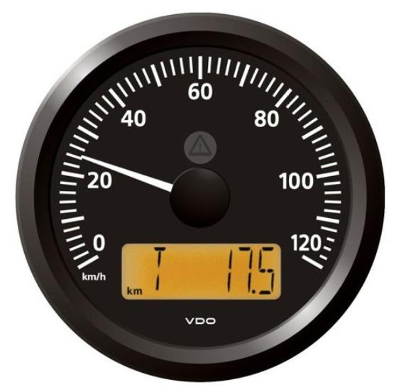Geschwindigkeitsanzeige 0–120 km/h schwarz