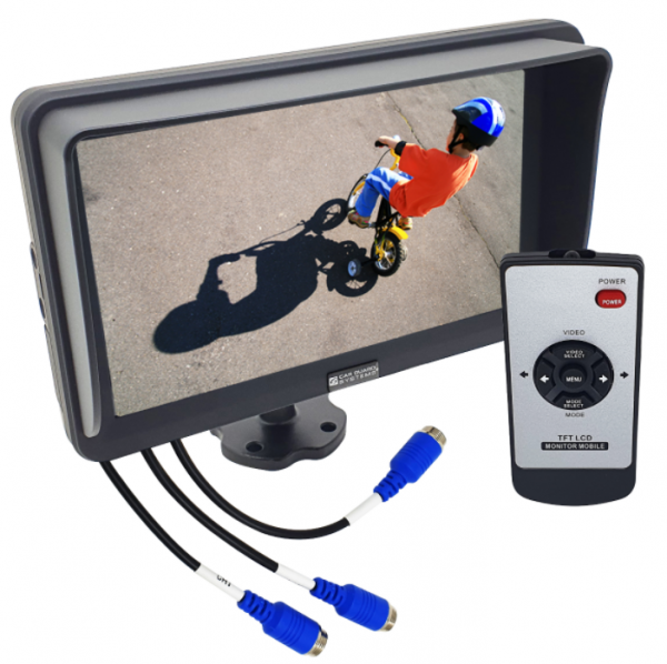 RAV-MO 7HD, 7 Zoll AHD-Monitor, 1024x600 Pixel, 3 Kamera-Eingänge (bis 1080p), 9-32V, Leitlinien