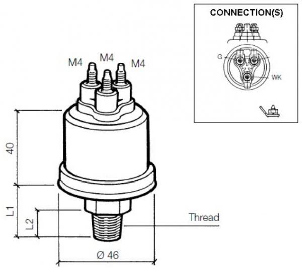 """0,8 ± 0,15 bar / 11,6 ± 2,2 psi (1/8"""" – 27 Dryseal NPTF) mit Warnkontakt, gemeinsame Masse"""