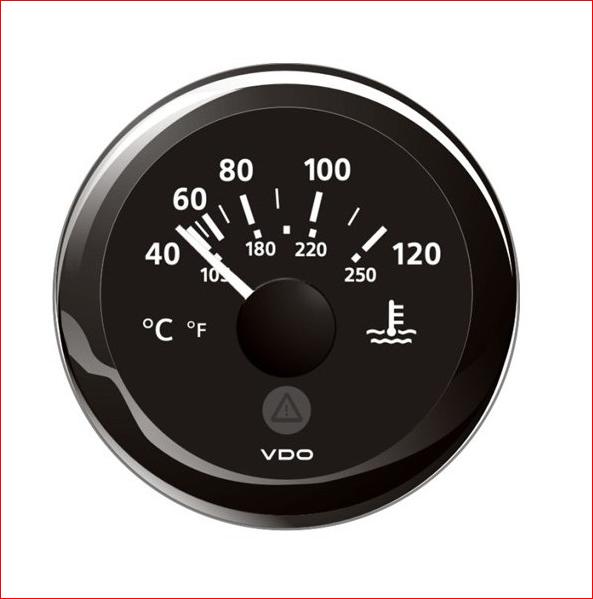 VDO ViewLine Kühlwassertemperatur 120°C Schwarz 52mm