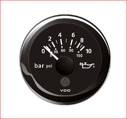 VDO ViewLine Motor Öldruck 10Bar Schwarz 52mm