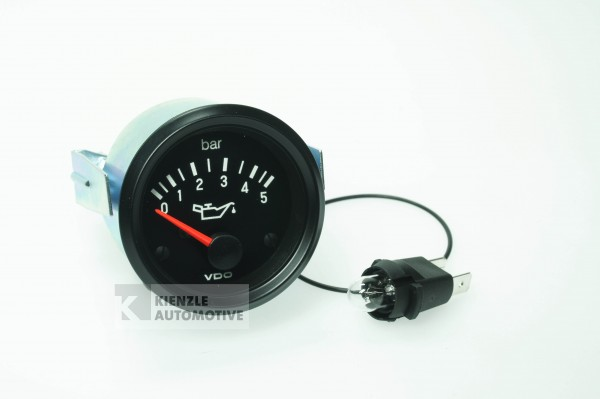 VDO Cockpit International 12 Volt Öldruckanzeiger Manometer 5 bar, Ø 52 mm