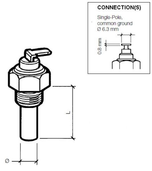 """40 – 120 °C / 105 – 250 °F (1/8"""" – 27 NPTF) Einpolig, gemeinsame Masse"""