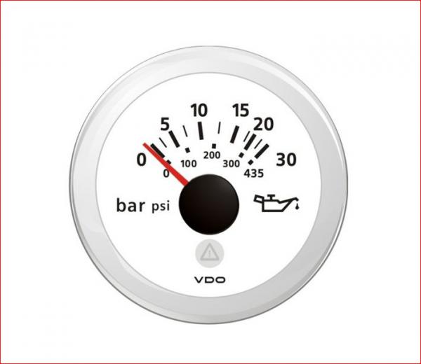 VDO ViewLine Motor Öldruck 30Bar Weiß 52mm