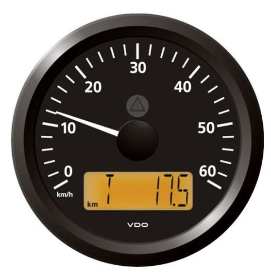Geschwindigkeitsanzeige 0–60 km/h schwarz