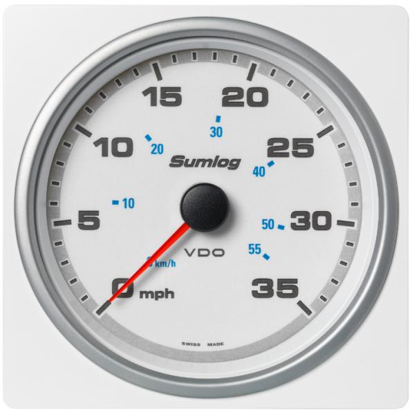 Geschwindigkeit durch Wasser (LOG) 35 mph / 55 km/h weiß