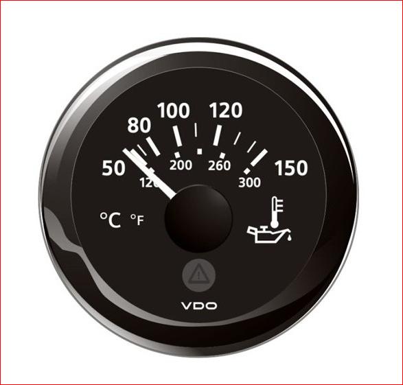 VDO ViewLine Motor Öltemperatur 150°C Schwarz 52mm